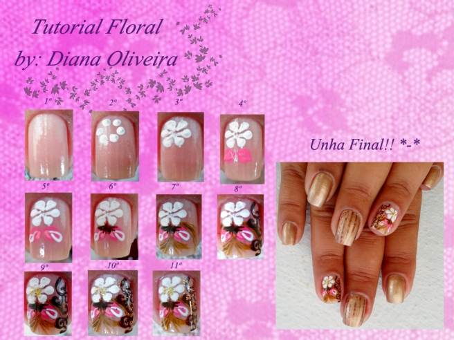 Unhas Floral tutorial